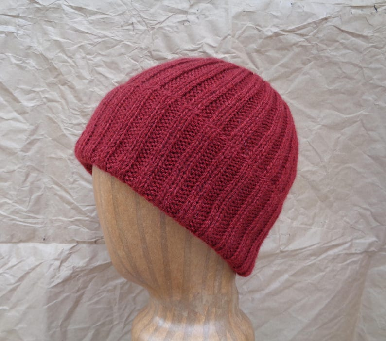 3431ce57a47 Burgundy Red Cap Cashmere Knit Hat Watch Cap Beanie Luxury