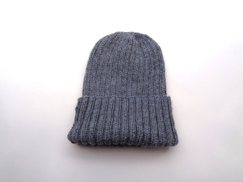 XL Mens Hat Gray Heather Hand Knit 100% Wool Beanie Hat  132412a0e9b
