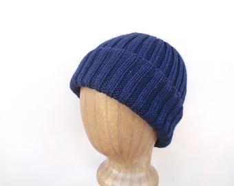 Navy Blue Hat, Hand Knit, Peruvian Wool, Watch Cap, Men Teen Boys Women, Beanie Hat