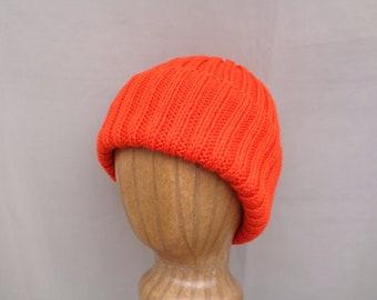 Bright Orange Hat, Hand Knit, Peruvian Wool, Teens Men Women, Watch Cap Beanie, Tangerine Orange, Hunter Safety