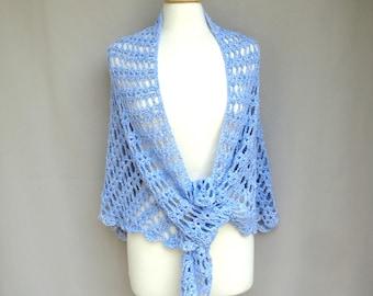 Lacy Crochet Shawl, Sky Blue, Large Triangle Shawl Wrap, Scallop Lace, Cotton Blend, Women Wedding Prayer