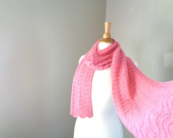 Strawberry Pink Cashmere Scarf, Super Soft Luxury, Long Wrap Scarf, Lace Texture, Women's Fashion