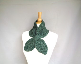 Olive Green Ascot Scarf, Cashmere Merino Wool, Hand Knit, Pull Through Neck Warmer, Women's Chic Bow Scarf