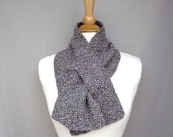 Brown Tweed Keyhole Scarf, Pull Through Neck Warmer, Cotton Silk Linen, Hand Knit, Women's Scarf