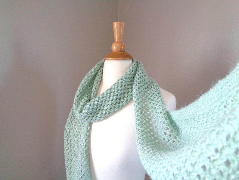 Mint Green Lace Scarf Hand Knit Super Soft Alpaca Blend image 0