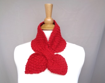 Childs Cowl Scarf, Bright Red, Boys or Girls, Hand Knit, Ascot Scarf, Small Bow Scarf, Toddler Kids Neck Warmer
