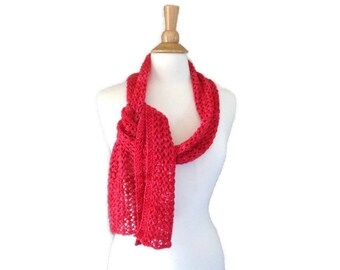 Strawberry Red Lace Scarf for Women & Teen Girls, Hand Knit, Hand Dyed, Merino Wool Cashmere Blend, Elegant Wrap Scarf