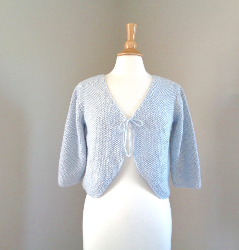 Pale Blue Bolero Shrug Hand Knit Cotton Silk Cropped image 0