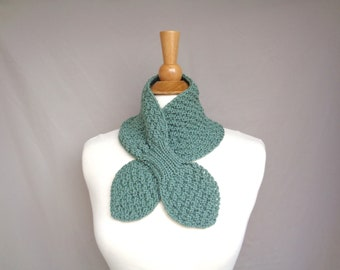 Sage Green Ascot Scarf, Merino Wool, Cozy Neck Warmer, Bow Tie Scarf, Pull Through Scarflette, Hand Knit Cowl Scarf