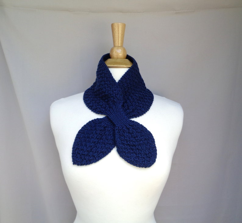 Navy Blue Ascot Scarf Cashmere Wool Pull Through Keyhole image 0