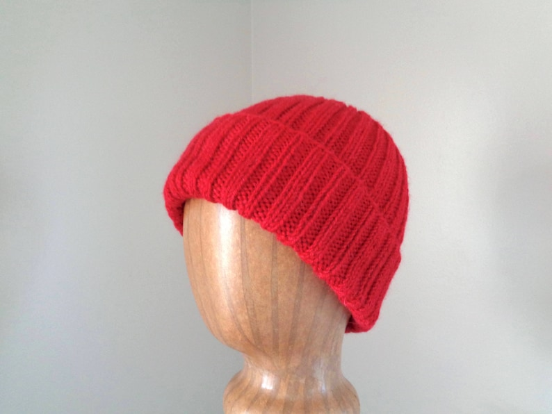 Alpaca Wool Hat Bright Red Watch Cap Beanie Hand Knit  50cd0422cf11