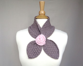 Ascot Neck Scarf with Pink Rose Flower, Taupe Brown, Merino Wool, Hand Knit, Neck Warmer Ascot Scarf, Pull Through, Women