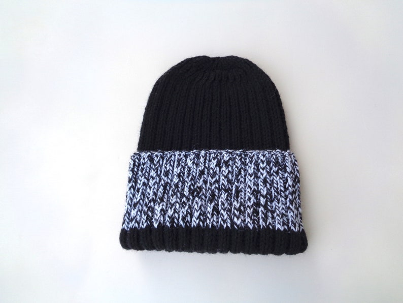 XL Mens Hat Black White Marl Hand Knit 100% Wool Beanie image 0