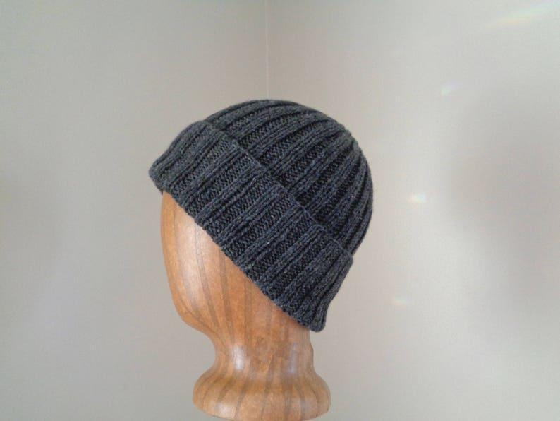 7f4ad0e5637 Hand Knit Beanie Hat Cashmere Dark Gray Watch Cap Luxury
