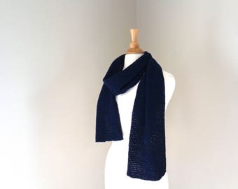 Navy Blue Scarf, Cashmere Blend, Luxury Natural Fiber, Long Wide Scarf, Mens Womens Hand Knit Scarf, Winter Style, Merino Wool