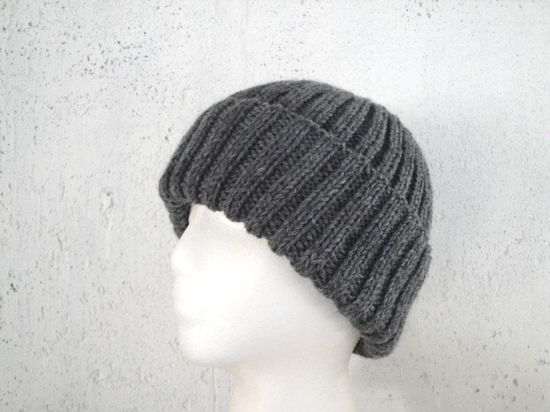 dbdb3661169 Medium Gray Hat Wool Beanie Hand Knit Peruvian Wool Teens