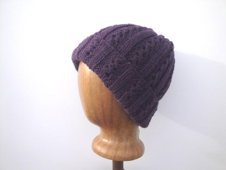 fb5dc9bdc Women's Knit Beanie Hat, Alpaca Wool, Deep Purple, Watch Cap, Slouch Hat,  Eyelet Lace Design
