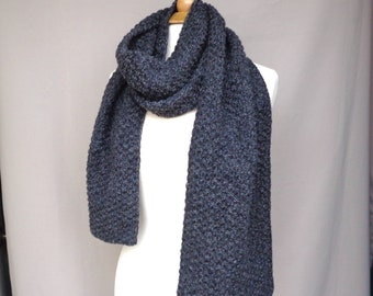 Cashmere Blend Scarf, Charcoal Gray Marl, Luxury Natural Fiber, Long Wide Scarf, Men Women, Hand Knit Large Scarf