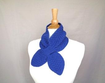 Blueberry Blue Ascot Scarf, Merino Wool Alpaca, Pull Through Scarflette, Neck Warmer, Hand Knit Scarf