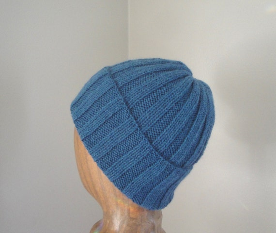 f6864ddeab5 Alpaca Wool Hat Hand Knit Roll Brim Beanie Watch Cap Teal