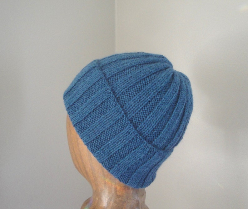 8c47bd220b8 Alpaca Wool Hat Hand Knit Roll Brim Beanie Watch Cap Teal