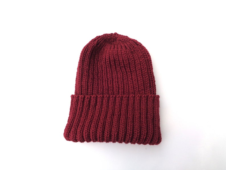 ec2a4db7 XL Mens Hat, BURGUNDY RED, Hand Knit, 100% Wool, Beanie Hat, Watch Cap with  Brim, Natural Fiber, Extra Large, Bright Red Wool Hat