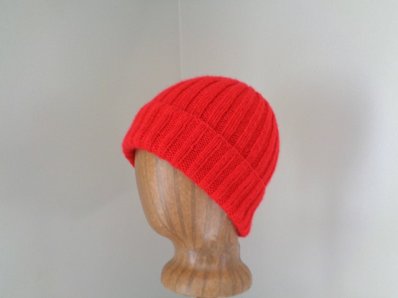 900f21200a1 Bright Red Cap Cashmere Knit Hat Watch Cap Beanie Luxury