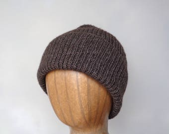 Yak Fiber Hat, Beanie Hat, Watch Cap, Luxury Knit, Natural Fiber, Mens Hat, Ribbed Hat, Dark Brown