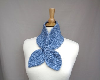 Ascot Scarf, Denim Blue, Neck Warmer Cowl, Hand Knit, Cotton Merino Wool, Pull Through Keyhole Women's Scarf