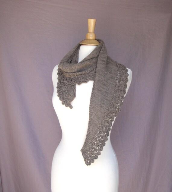Foulard brun avec dentelle laine mérinos bio à la main en   Etsy 64c8b454274