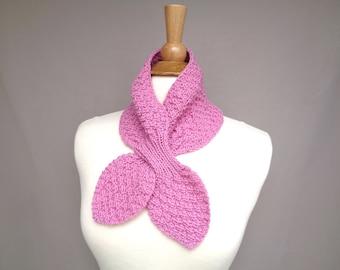 Bubblegum Pink Ascot Scarf, Hand Knit Pull Through Keyhole Scarflette, Neck Warmer, Merino Wool