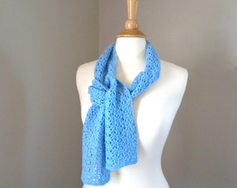 Short Knit Scarf, Pure Cashmere, Cinderella Blue, Hand Knit, Natural Fiber Luxury Scarf, Open Lace Pattern, Women's Small Scarf