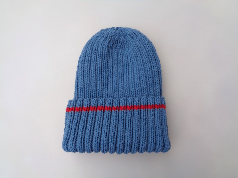 9eb2bb09019 XL Mens Hat Blue   Red Hand Knit 100% Wool Beanie Hat