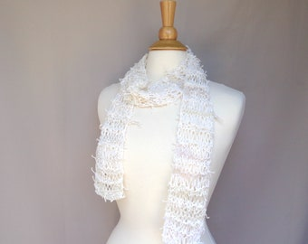 Off White Art Scarf, Hand Knit Designer Fashion, One of a Kind, Stringy Texture, Wild Scarf, Women & Teen Girls
