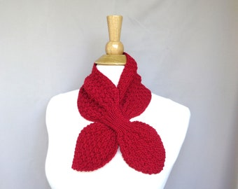 Bright Red Ascot Scarf, Cashmere Blend, Pull Through Scarflette, Neck Warmer, Cashmere Merino Wool, Hand Knit Scarf