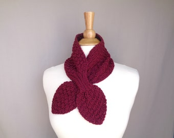 Neck Warmer Scarf, Berry Purple, Hand Knit Ascot Scarf, Cashmere Blend, Bow Neck Scarf, Womens Cowl Scarf