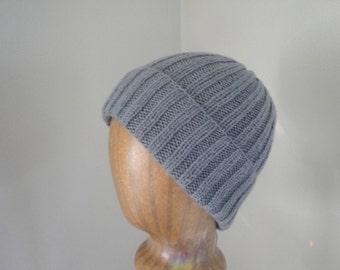 Gray Cashmere Hat, Lightweight Thin Knit, Luxury Natural Fiber, Gift for Him Her, Beanie Watch Cap