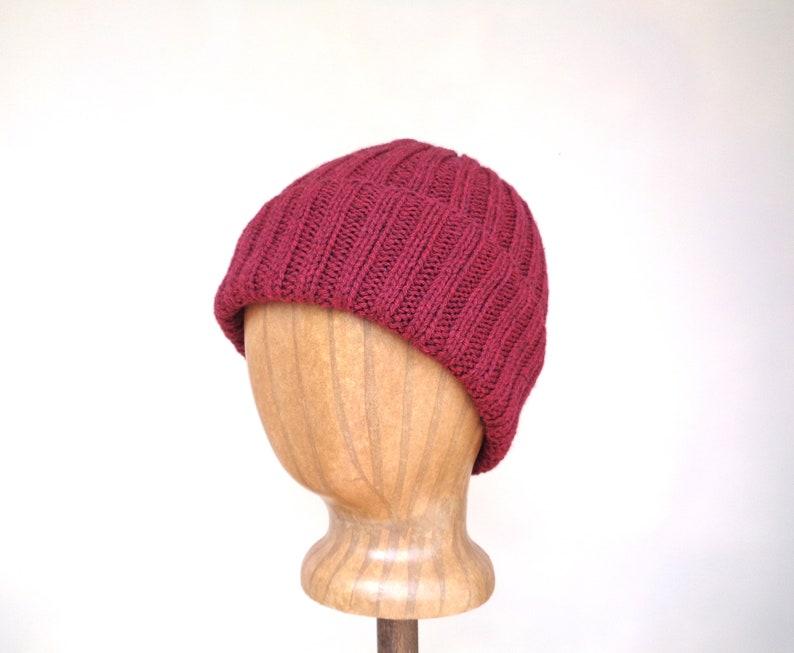 f6287fc8231 Yak Wool Hat Burgundy Red Beanie Hat Watch Cap Luxury