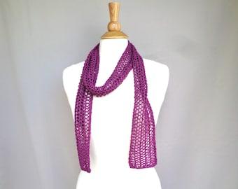 Skinny Scarf, Berry Purple, Summer Fashion, Sheer Mesh Lace, Hand Knit, Cotton Blend, Women Teen Girls