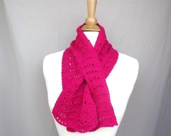 Fuchsia Pink Keyhole Scarf, Cashmere Merino Wool, Hand Knit Neck Scarf, Women's Neck Warmer, Pull Through Style