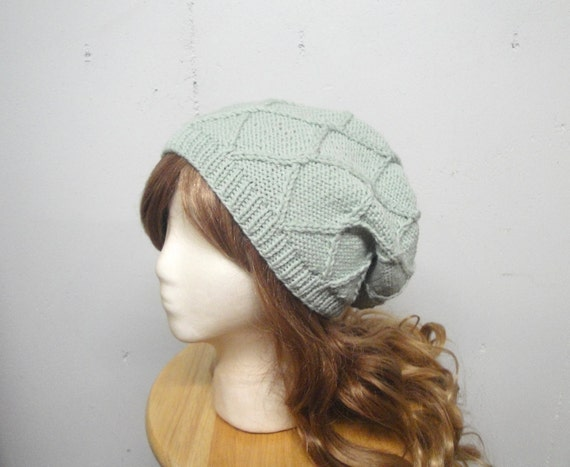 8b63d656b79 Women s Slouch Hat with Diamond Pattern Sage Green