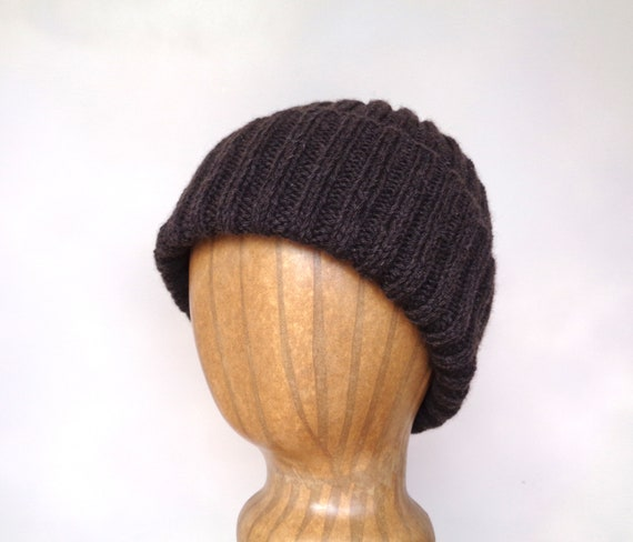 af618472397 Dark Brown Hat Yak   Merino Wool Beanie Hat Watch Cap
