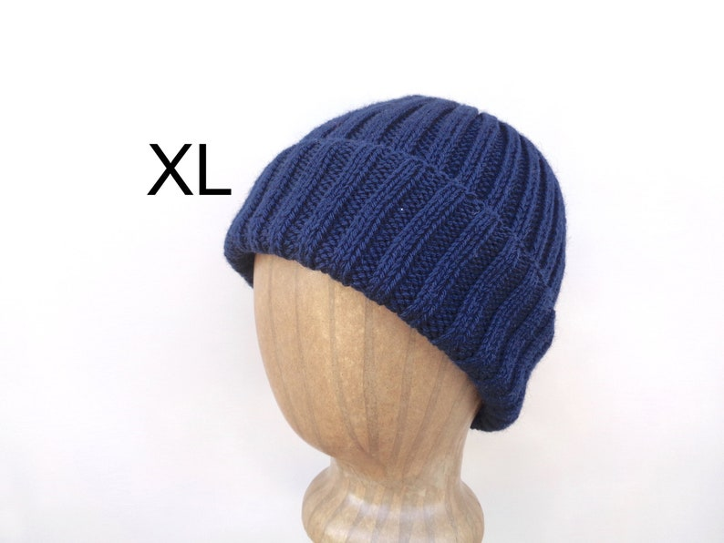 b135c25ed8c XL Mens Hat NAVY BLUE Hand Knit 100% Wool Beanie Hat