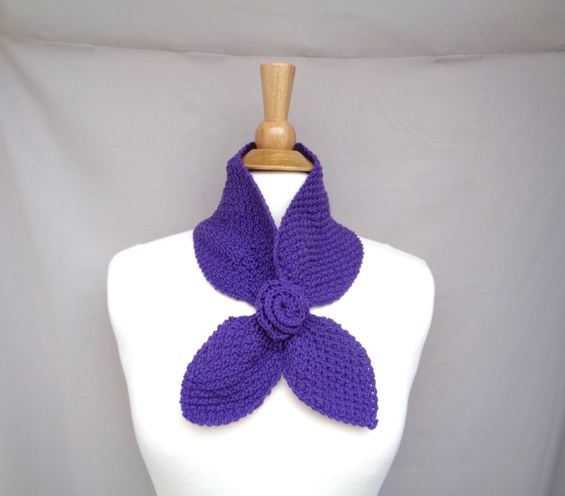Ascot Neck Scarf with Rose Flower Grape Purple Pull Through image 0