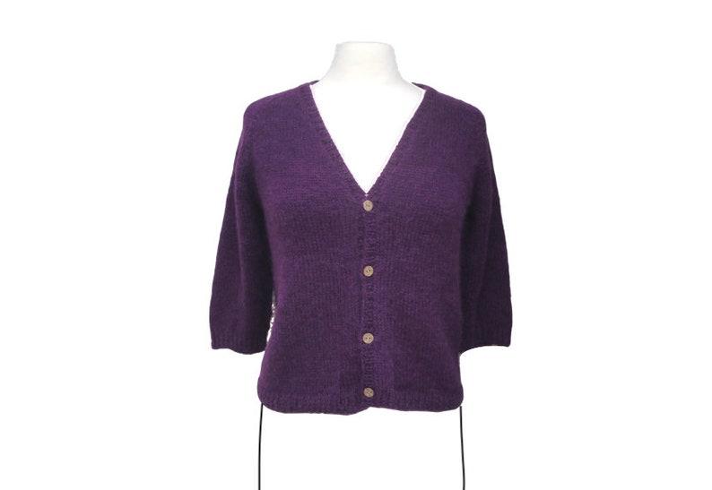 Purple Cardigan Sweater Alpaca Wool Cropped Length Womens image 0