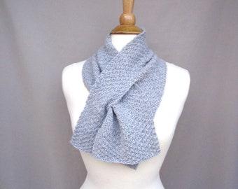 Pale Gray Keyhole Scarf, Alpaca Wool, Pull Through Neck Scarf, Hand Knit, Bow Scarflette, Womens Scarf