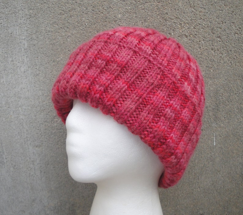 f4ca394ad97 Red Stripe Beanie Hat Hand Knit 100% Wool Watch Cap Teens