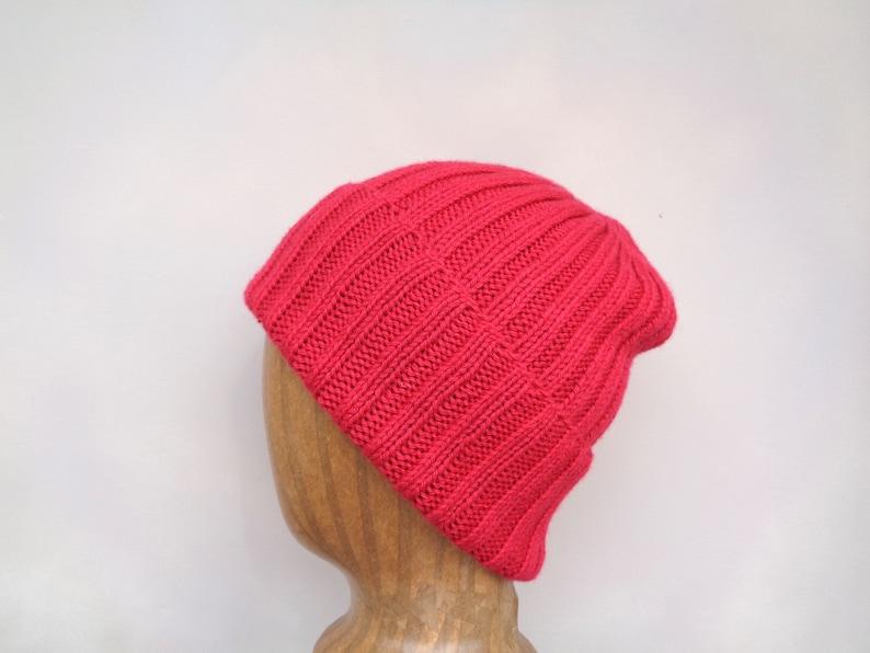 Yak Fiber Beanie Hat Bright Red Watch Cap Luxury Hand Knit image 0