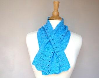 Cashmere Merino Keyhole Scarf, Turquoise Aqua Blue Neck Warmer, Pull Through Women's Small Scarf