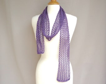 Mesh Lace Skinny Scarf, Purple Glitter, Hand Knit, Cotton Silk, Women Teen Girls, Lacy Neck Scarf, Gift for Her
